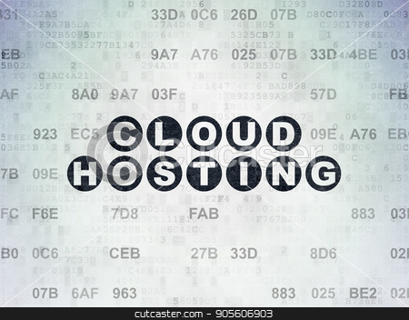 Cloud computing concept: Cloud Hosting on Digital Data Paper background stock photo, Cloud computing concept: Painted black text Cloud Hosting on Digital Data Paper background with Hexadecimal Code by mkabakov