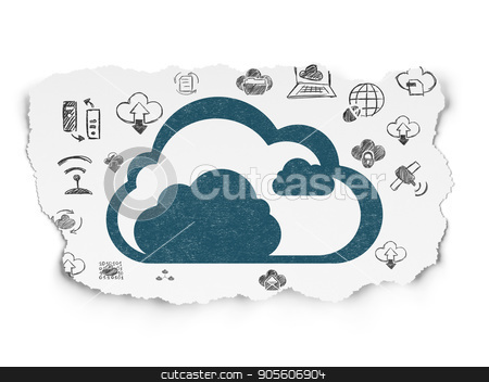 Cloud technology concept: Cloud on Torn Paper background stock photo, Cloud technology concept: Painted blue Cloud icon on Torn Paper background with  Hand Drawn Cloud Technology Icons by mkabakov