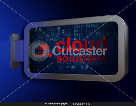 Cloud networking concept: Cloud Solutions and Cloud Network on billboard background stock photo, Cloud networking concept: Cloud Solutions and Cloud Network on advertising billboard background, 3D rendering by mkabakov