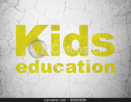 Learning concept: Kids Education on wall background stock photo, Learning concept: Yellow Kids Education on textured concrete wall background by mkabakov
