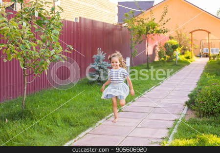 Cute little girl run