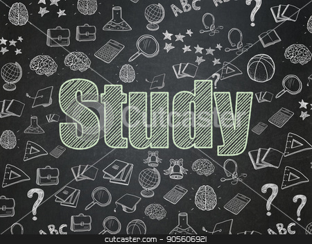 Education concept: Study on School board background stock photo, Education concept: Chalk Green text Study on School board background with  Hand Drawn Education Icons, School Board by mkabakov