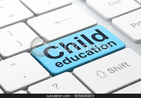 Studying concept: Child Education on computer keyboard background stock photo, Studying concept: computer keyboard with word Child Education, selected focus on enter button background, 3D rendering by mkabakov