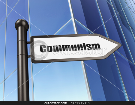 Politics concept: sign Communism on Building background stock photo, Politics concept: sign Communism on Building background, 3D rendering by mkabakov