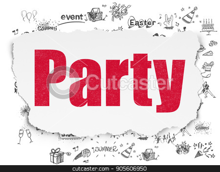 Entertainment, concept: Party on Torn Paper background stock photo, Entertainment, concept: Painted red text Party on Torn Paper background with  Hand Drawn Holiday Icons by mkabakov