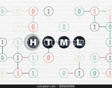 Database concept: Html on wall background stock photo, Database concept: Painted black text Html on White Brick wall background with Binary Code by mkabakov