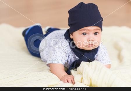 Adorable Caucasian baby boy stock photo, Adorable Caucasian baby boy. Adorable baby boy in white sunny bedroom. Newborn child by Satura86