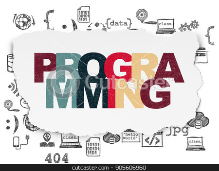 Database concept: Programming on Torn Paper background stock photo, Database concept: Painted multicolor text Programming on Torn Paper background with  Hand Drawn Programming Icons by mkabakov