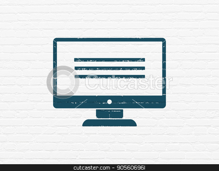 Programming concept: Monitor on wall background stock photo, Programming concept: Painted blue Monitor icon on White Brick wall background by mkabakov