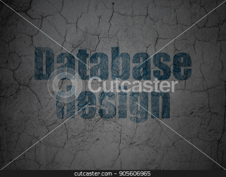 Software concept: Database Design on grunge wall background stock photo, Software concept: Blue Database Design on grunge textured concrete wall background by mkabakov