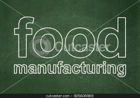 Industry concept: Food Manufacturing on chalkboard background stock photo, Industry concept: text Food Manufacturing on Green chalkboard background by mkabakov