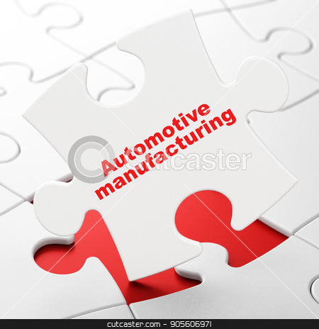 Industry concept: Automotive Manufacturing on puzzle background stock photo, Industry concept: Automotive Manufacturing on White puzzle pieces background, 3D rendering by mkabakov