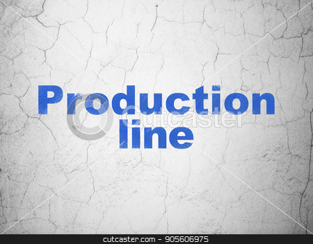 Manufacuring concept: Production Line on wall background stock photo, Manufacuring concept: Blue Production Line on textured concrete wall background by mkabakov