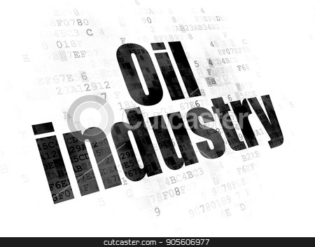 Industry concept: Oil Industry on Digital background stock photo, Industry concept: Pixelated black text Oil Industry on Digital background by mkabakov