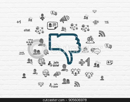 Social media concept: Thumb Down on wall background stock photo, Social media concept: Painted blue Thumb Down icon on White Brick wall background with  Hand Drawn Social Network Icons by mkabakov