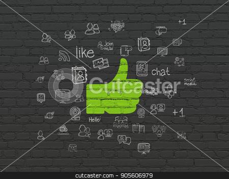 Social media concept: Thumb Up on wall background stock photo, Social media concept: Painted green Thumb Up icon on Black Brick wall background with  Hand Drawn Social Network Icons by mkabakov