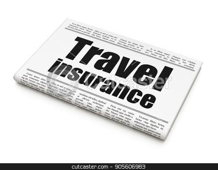 Insurance concept: newspaper headline Travel Insurance stock photo, Insurance concept: newspaper headline Travel Insurance on White background, 3D rendering by mkabakov