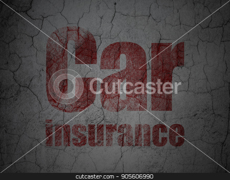 Insurance concept: Car Insurance on grunge wall background stock photo, Insurance concept: Red Car Insurance on grunge textured concrete wall background by mkabakov