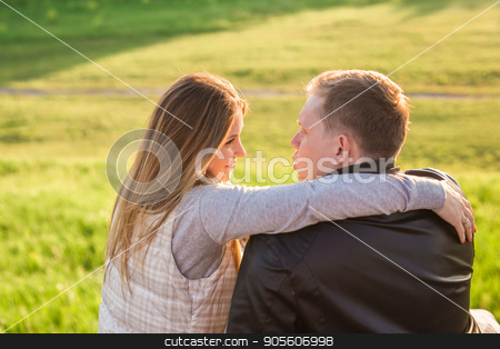 Portrait of couple hugging in nature back view stock photo, couple hugging on a pier in nature by Satura86