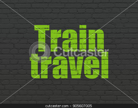 Vacation concept: Train Travel on wall background stock photo, Vacation concept: Painted green text Train Travel on Black Brick wall background by mkabakov