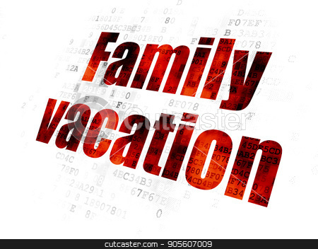 Tourism concept: Family Vacation on Digital background stock photo, Tourism concept: Pixelated red text Family Vacation on Digital background by mkabakov