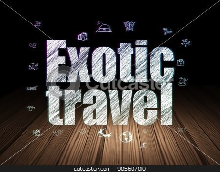 Vacation concept: Exotic Travel in grunge dark room stock photo, Vacation concept: Glowing text Exotic Travel,  Hand Drawn Vacation Icons in grunge dark room with Wooden Floor, black background by mkabakov