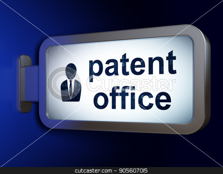 Law concept: Patent Office and Business Man on billboard background stock photo, Law concept: Patent Office and Business Man on advertising billboard background, 3D rendering by mkabakov
