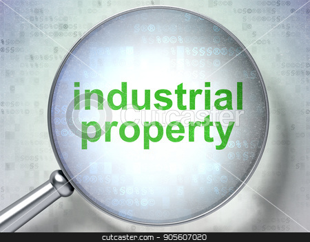 Law concept: Industrial Property with optical glass stock photo, Law concept: magnifying optical glass with words Industrial Property on digital background, 3D rendering by mkabakov
