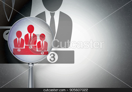 Law concept:  Business Team with optical glass on digital background stock photo, Law concept: magnifying optical glass with Business Team icon on digital background, empty copyspace for card, text, advertising, 3D rendering by mkabakov