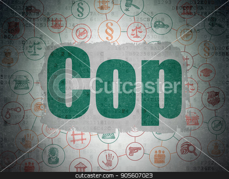 Law concept: Cop on Digital Data Paper background stock photo, Law concept: Painted green text Cop on Digital Data Paper background with  Scheme Of Hand Drawn Law Icons by mkabakov