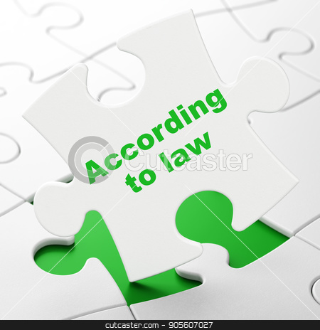 Law concept: According To Law on puzzle background stock photo, Law concept: According To Law on White puzzle pieces background, 3D rendering by mkabakov