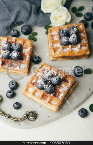 Belgian waffles with fresh berries and mint stock photo, Belgian waffles with fresh blueberries and mint with white flowers on concrete tray. Delicious dessert. Top view by sunapple