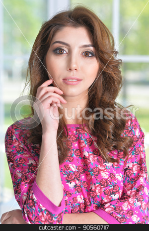 beautiful young woman  stock photo, Portrait of beautiful young woman with curly hair by Ruslan Huzau
