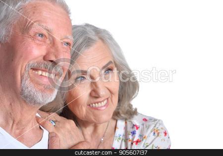 happy senior couple stock photo, Studio portrait of happy senior couple isolated on white background by Ruslan Huzau