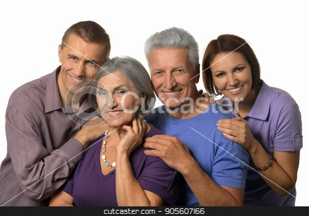 Happy parents with grown-up children stock photo, Portrait of happy parents with grown-up children by Ruslan Huzau