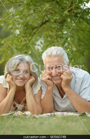 senior couple resting outdoors stock photo, Portrait of a happy senior couple resting outdoors by Ruslan Huzau