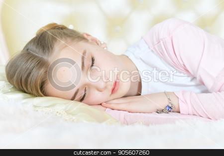 Cute little girl sleeping stock photo, Cute little girl sleeping on beige pillow by Ruslan Huzau