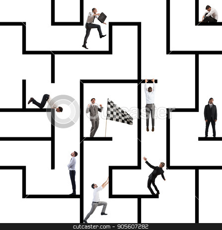 Business game of maze stock photo, Business person inside a big maze like a business game by Federico Caputo