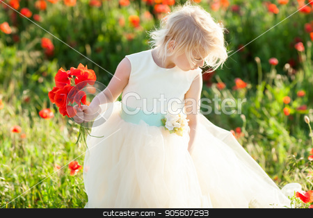 kids fashion, small girl, spring, wedding, happy childhood concept - lovely little blond kid wearing white dress with bouquet of flowers in the poppy field stock photo, kids fashion, small girl, spring, wedding, happy childhood concept - lovely little blond kid wearing white dress with bouquet of flowers in the poppy field by Dmitry