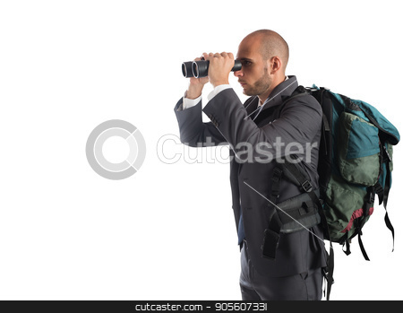 Businessman looking for new business stock photo, Businessman looking for new new business with binocular by Federico Caputo
