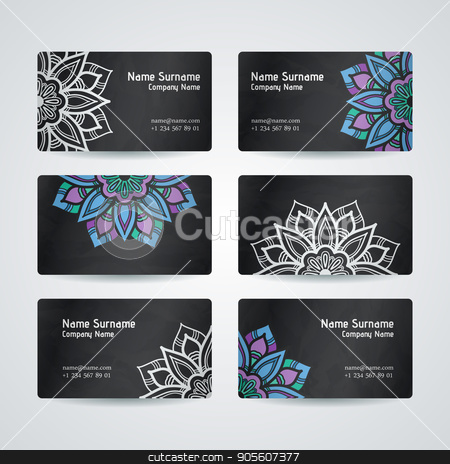 Set of vector design templates. Business card with floral circle ornament. Mandala style. stock vector clipart, Set of vector design templates. Business card with floral circle ornament. Mandala style. by Drekhann