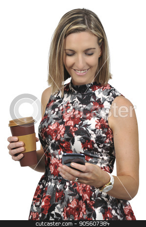 Woman on the Phone with Coffee stock photo, Woman using a cell phone and holding a disposable to go coffee cup by Robert Byron