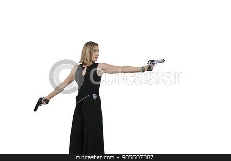 Female Detective with gun stock photo, Beautiful police detective woman on the job with a gun by Robert Byron