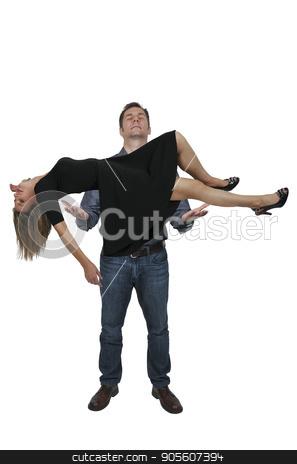 Man levitating a woman stock photo, Man using magic to levitate a beautiful woman by Robert Byron