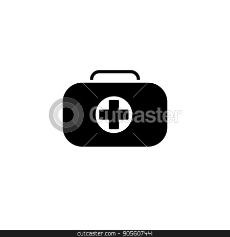 First Aid Kit Symbol and Medical Services Icon. Flat Design. stock vector clipart, First Aid Kit Symbol and Medical Services Icon. Flat Design. Isolated. by Vadym Nechyporenko