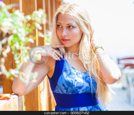 Summer girl portrait. Beautiful blonde woman smiling on sunny summer or spring day stock photo, Summer girl portrait. Beautiful blonde woman smiling on sunny summer or spring day by Satura86