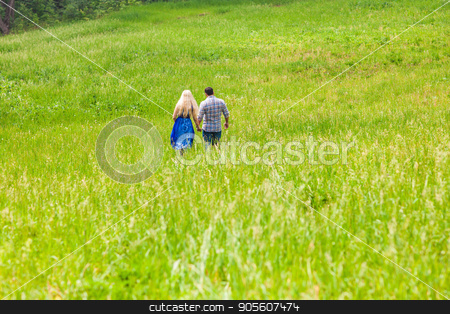 Happy couple walking on a meadow in summer nature, rear view stock photo, Happy couple running on a meadow in summer nature by Satura86