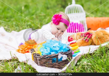 Adorable baby girl smile picnic playful weekend nature stock photo, baby smile picnic playful weekend nature with family by Satura86