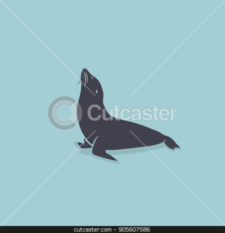 Sea Lion symbol stock vector clipart, Sea Lion symbol on a blue Background. Vector element by Alfio Roberto Silvestro