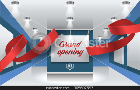Grand opening vector illustration, background with red ribbon stock vector clipart, Grand opening vector illustration, background with red ribbon. Template banner, flyer, design element, decoration for opening event by Igor Samoilik